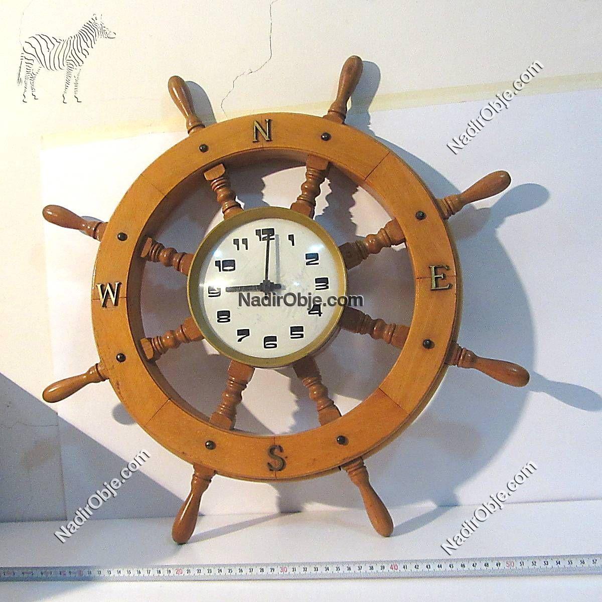 Dümen Formunda Saat Ahşap Objeler Deniz