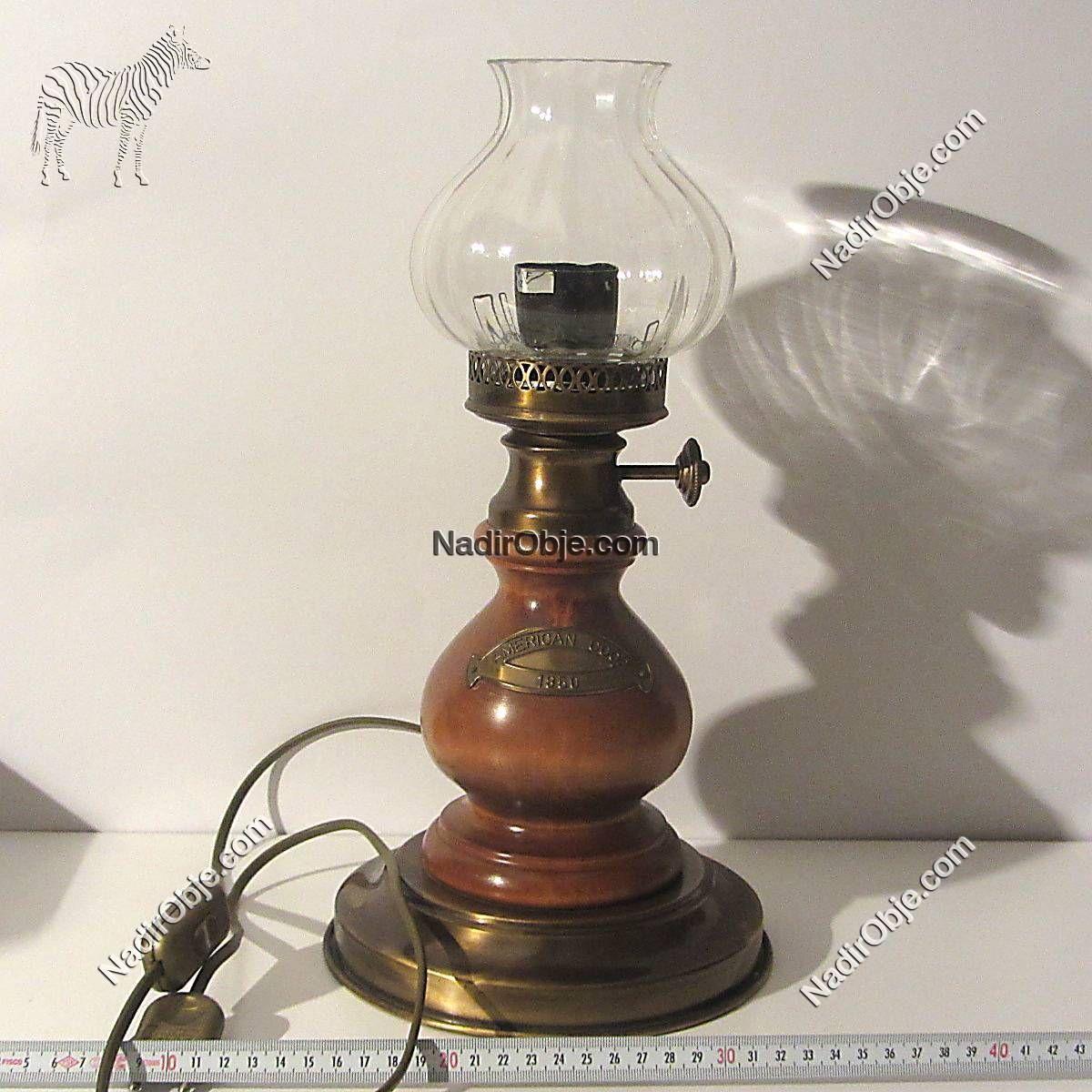 Gaz Lambası Şeklinde Lamba Ahşap Objeler Amerikan