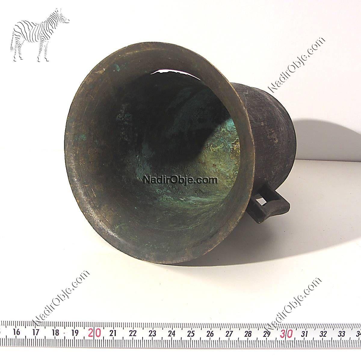 Çok Eski Pirinç Havan Metal Objeler Çan