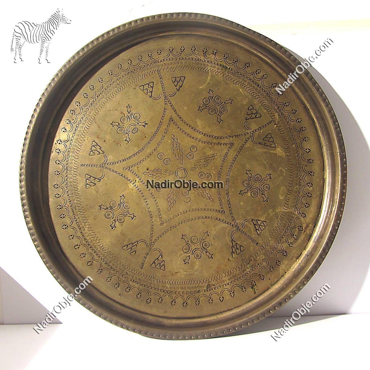 Pirinç Tepsi 50 cm Metal Objeler Pirinç