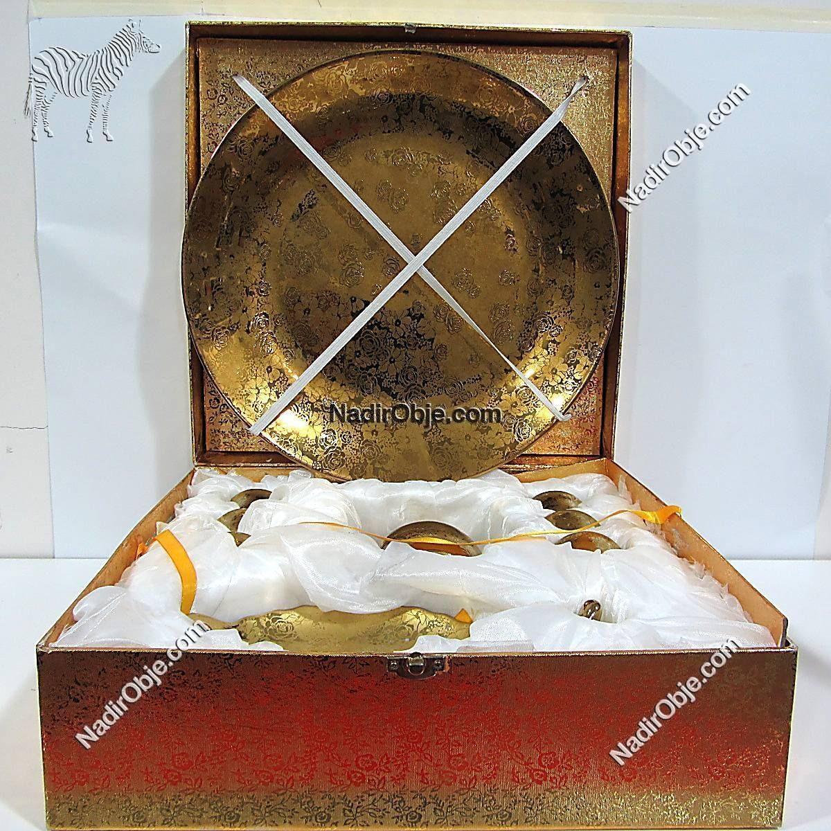 Altın Renkli Porselen Seti Seramik-Porselen Objeler Altın