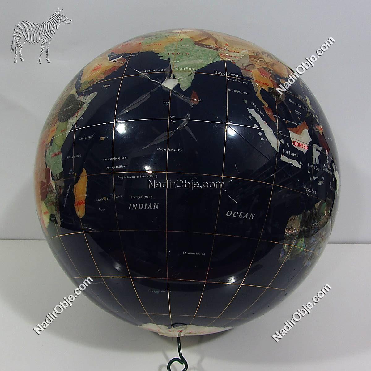Dünya Haritası Küre Cam-Taş Objeler Dünya