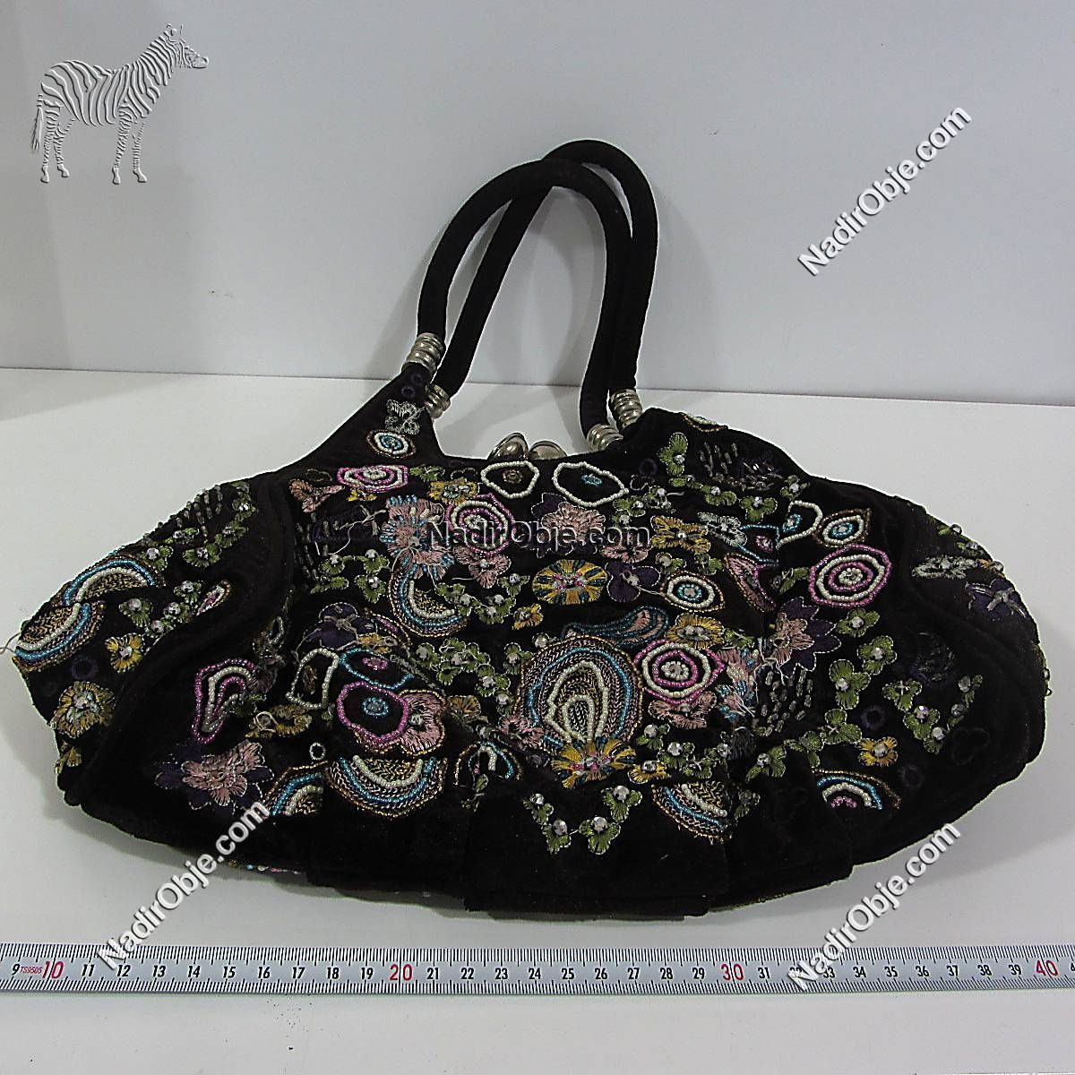 Boncuk İşlemeli Çanta Deri-Kumaş-Tekstil Boncuk