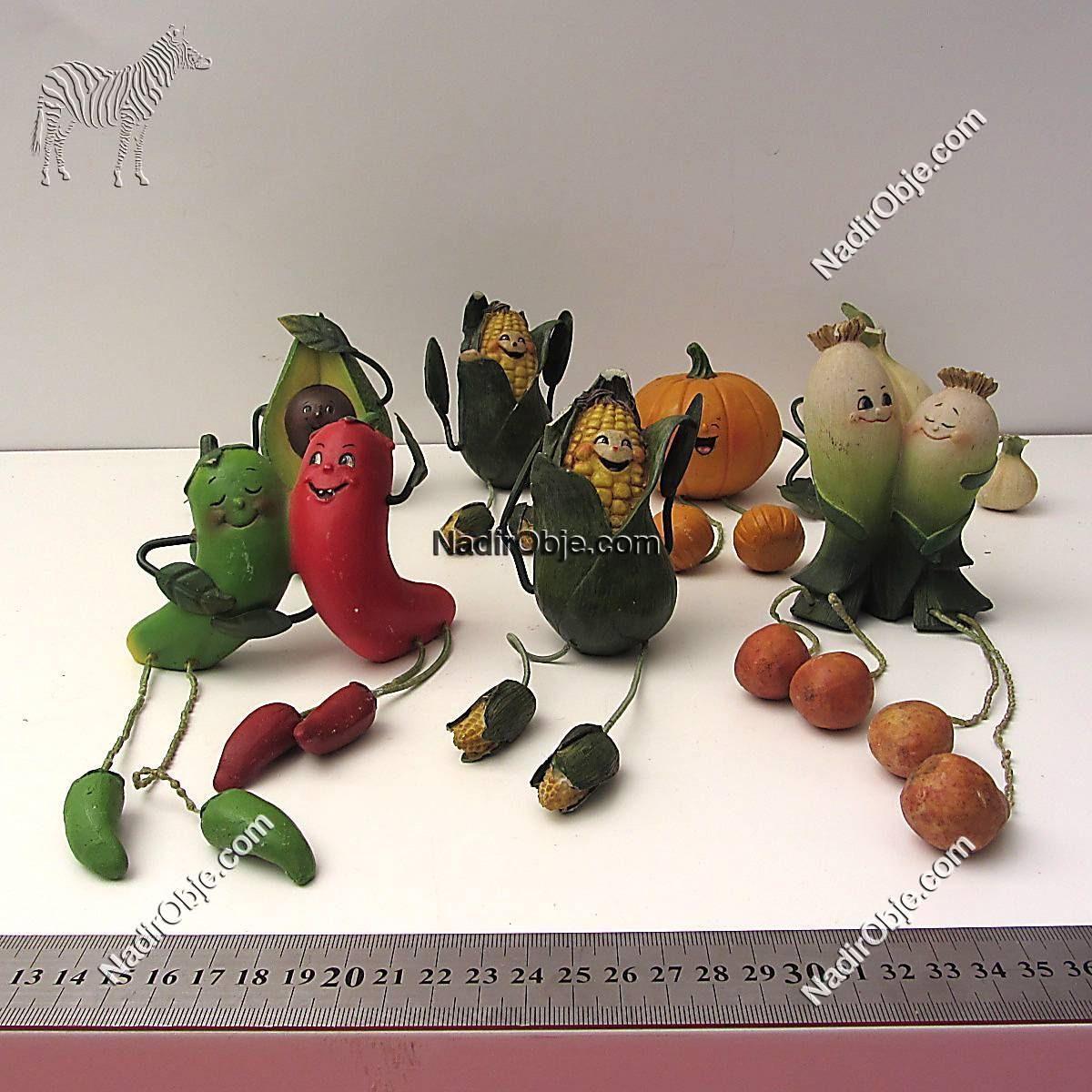 Neşeli Sebzeler Cam-Taş Objeler Figür