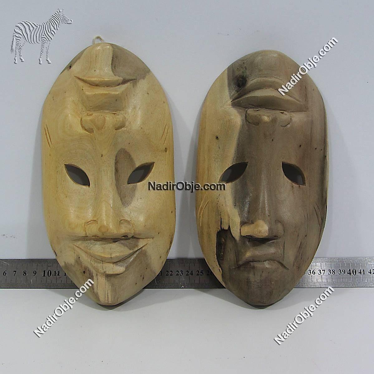 2 Adet Maske Ahşap Objeler Ahşap