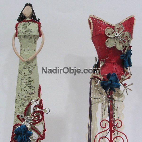 2 Adet Dekoratif Figür Deri-Kumaş-Tekstil Dekor