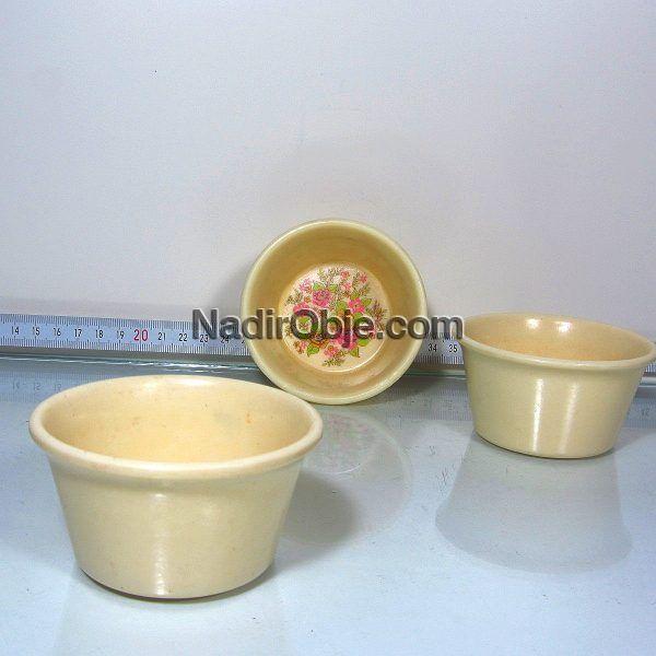 3 Adet Melamin Berber Tası Plastik-Polyester Objeler Berber