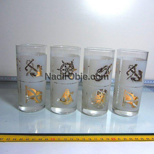 4 Adet Denizcilik Temalı Su Bardağı Cam-Taş Objeler Bardak