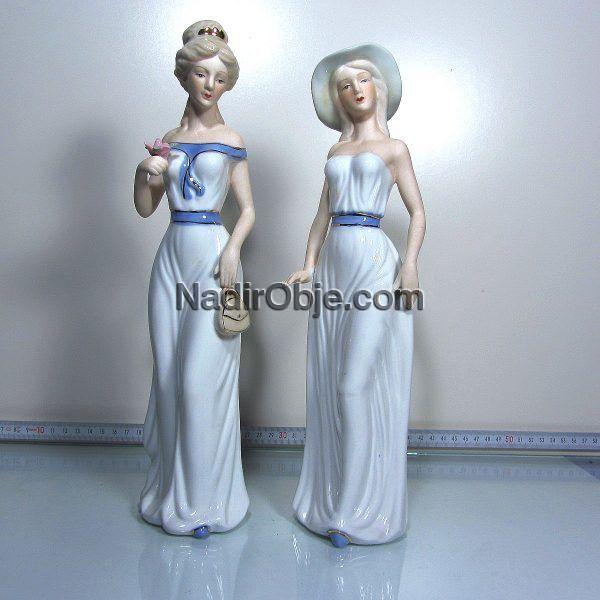 2 Adet Porselen Kadın Figürü Seramik-Porselen Objeler Figür
