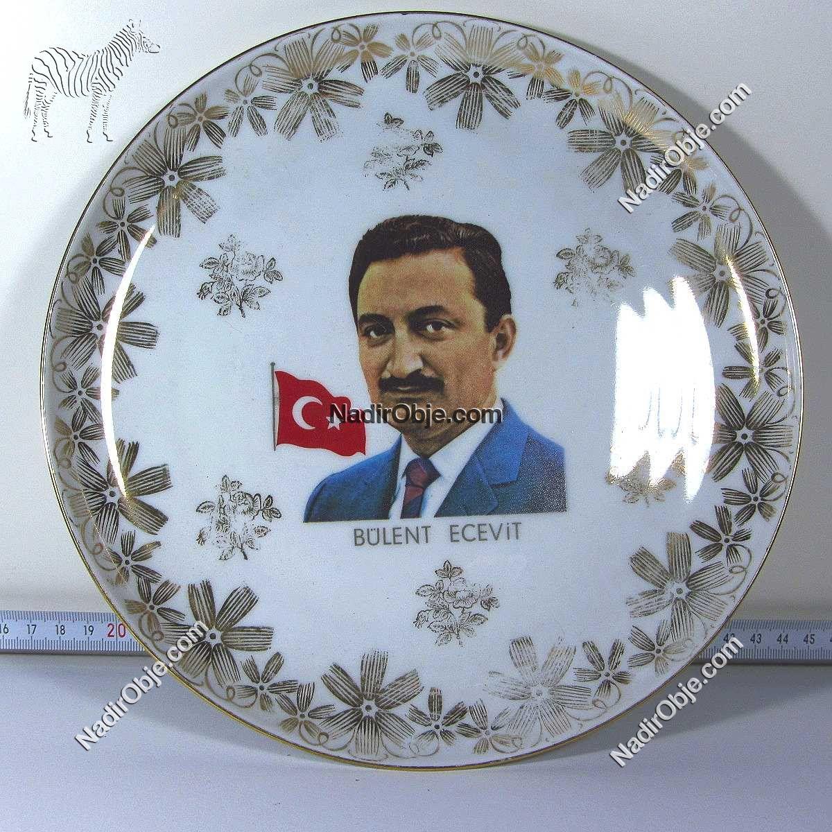 Bülent Ecevit Porselen Tabak Seramik-Porselen Objeler Bülent Ecevit