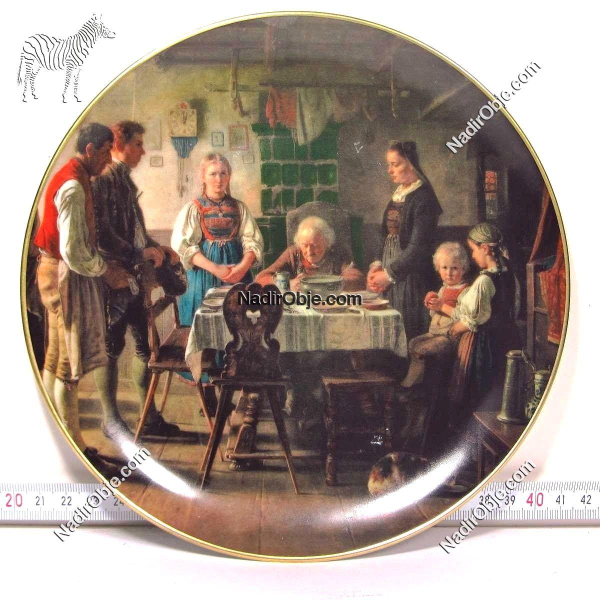 Resimli Porselen Tabak Seramik-Porselen Objeler Alman