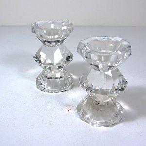 2 Kristal Mumluk Cam-Taş Objeler Kristal
