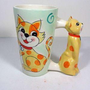 Kedili Kupa Seramik-Porselen Objeler Bardak