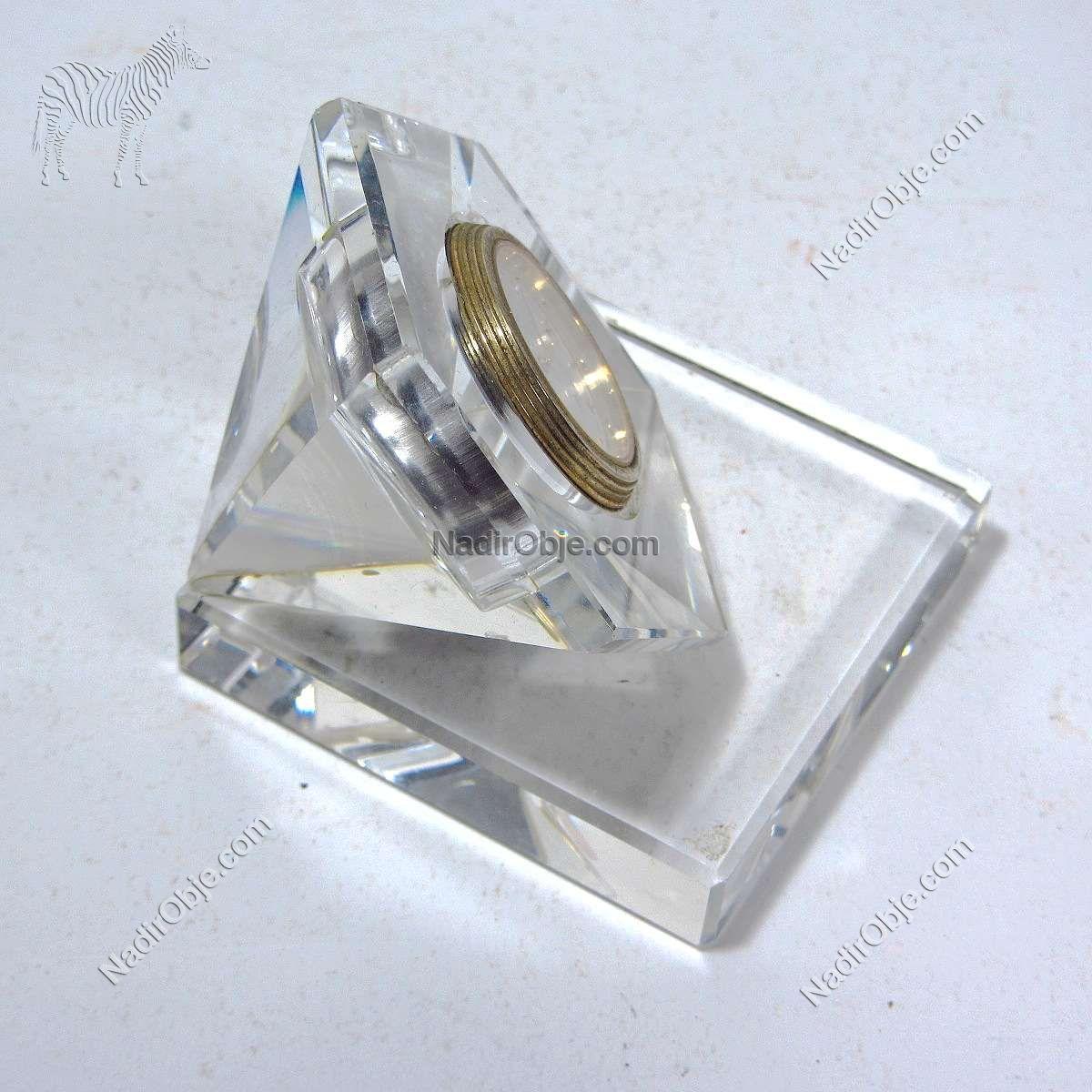 Kristal Masa Saati Cam-Taş Objeler Kristal