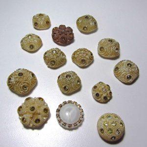 Vintage Düğme Lotu Plastik-Polyester Objeler Cam