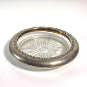 Gümüş Kaplama Küllük Cam-Taş Objeler Ataşlık