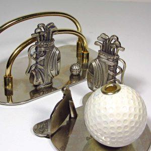 Golf Temalı Masa Takımı Metal Objeler Golf