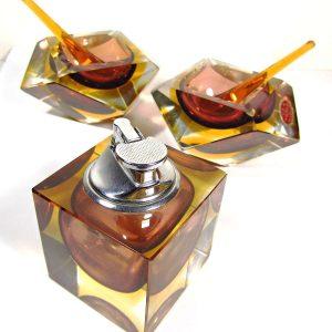 Murano Kristal Takım Cam-Taş Objeler Çakmak