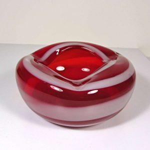 Kırmızı Beyaz Murano Küllük Cam-Taş Objeler Cam