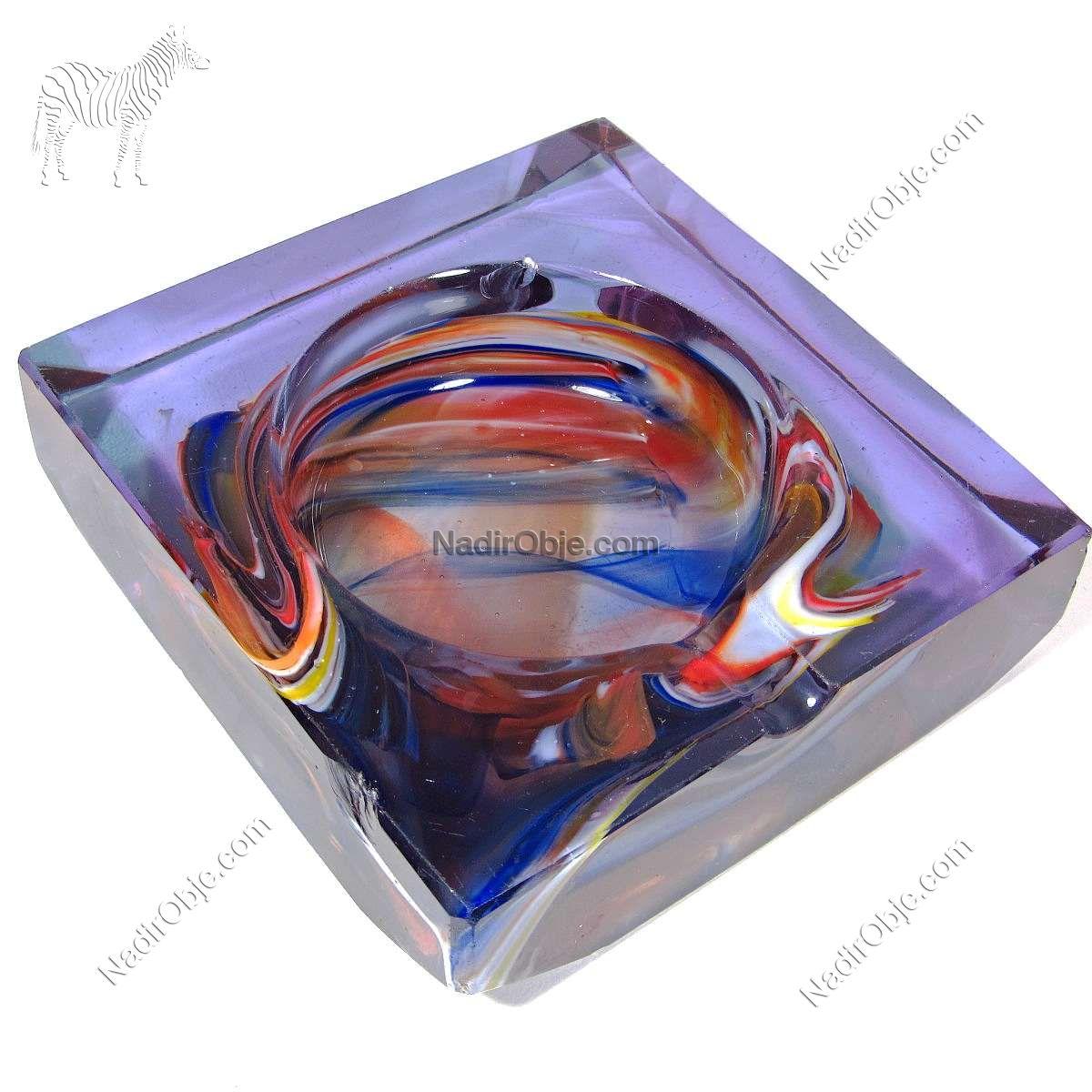 Ebru Desenli Kristal Küllük Cam-Taş Objeler Cam