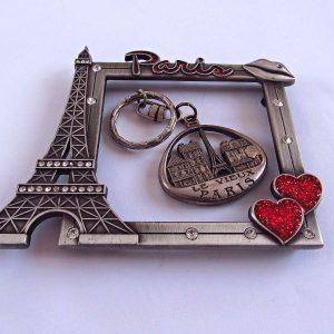 Paris Resim Çerçevesi ve Anahtarlık Metal Objeler Anahtarlık