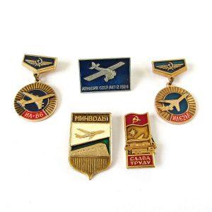 5 Adet Sovyet Havacılık Rozeti Metal Objeler Havacılık