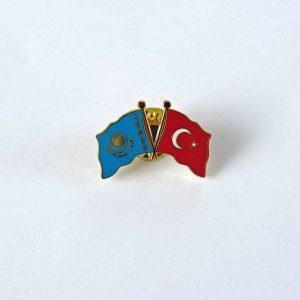 Türkiye Kazakistan Dostluk Rozeti Metal Objeler Bayrak