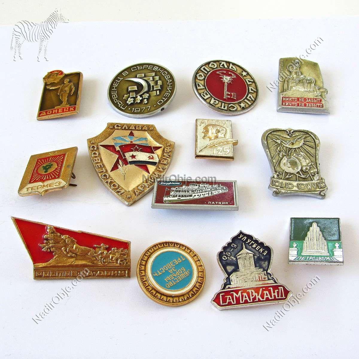 13 Adet SSCB Rozet Metal Objeler Lapel Badge