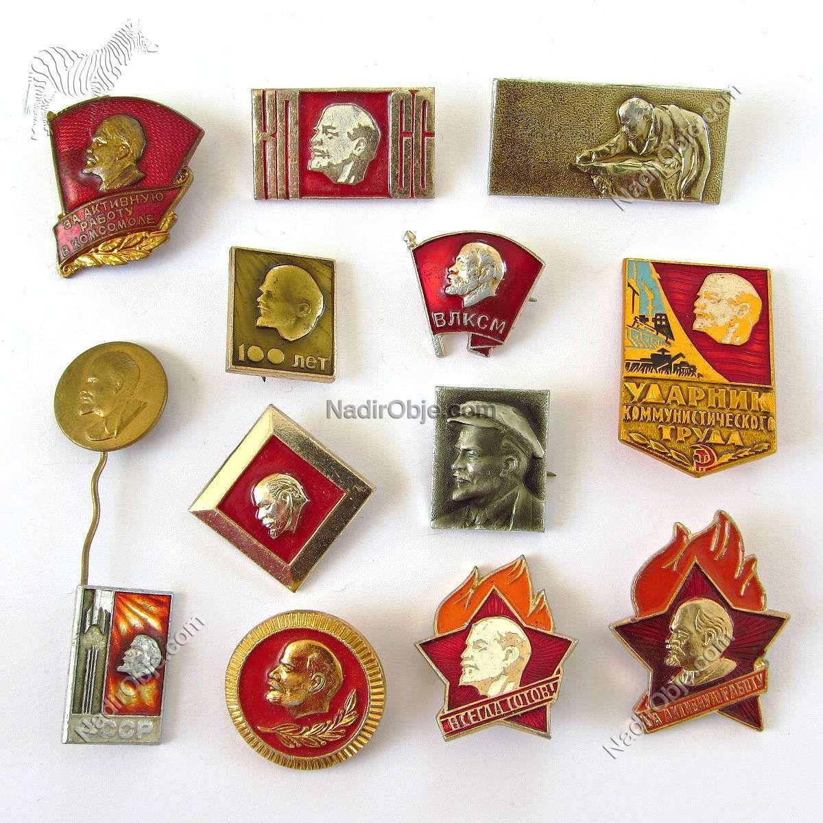 Lenin Rozet Koleksiyonu Metal Objeler Lapel Badge