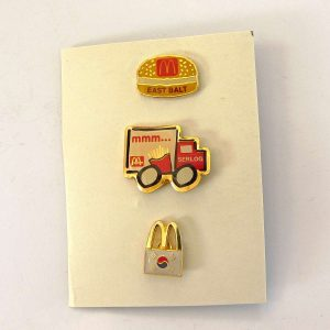 3 Adet McDonald's Rozet Metal Objeler Lapel Badge