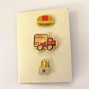 3 Adet McDonald's Rozet Metal Objeler Lapel Badge