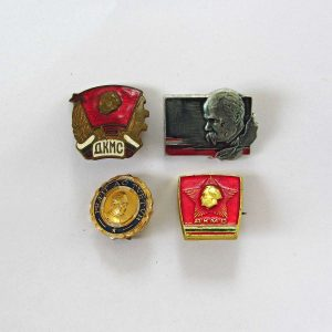 4 Adet Sovyet Rozet Metal Objeler Lapel Badge