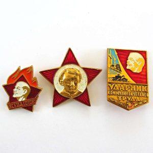 3 Adet SSCB Dönemi Rozet Metal Objeler Lapel Badge