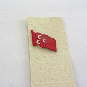 Osmanlı Bayrağı Rozet Metal Objeler Bayrak