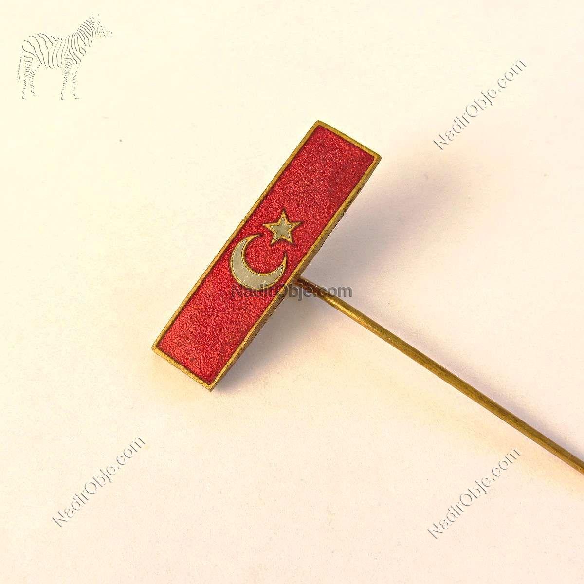 Türk Bayrağı Rozet Metal Objeler Bayrak