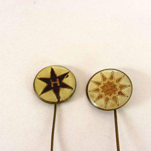 Yıldız (Güneş) Sembollü 2 Rozet Metal Objeler Lapel Badge