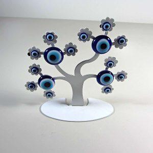 Nazar Boncuğu Ağacı Cam-Taş Objeler Ağaç