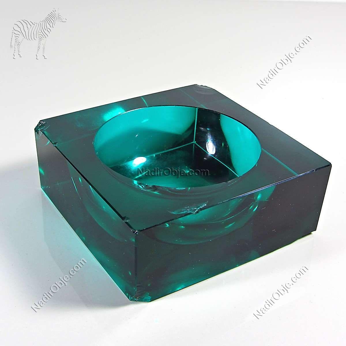 Yeşil Kristal Murano Küllük Cam-Taş Objeler Kristal