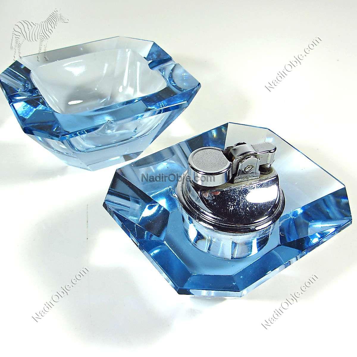 Mavi Kristal Çakmaklı Küllük Cam-Taş Objeler Çakmak