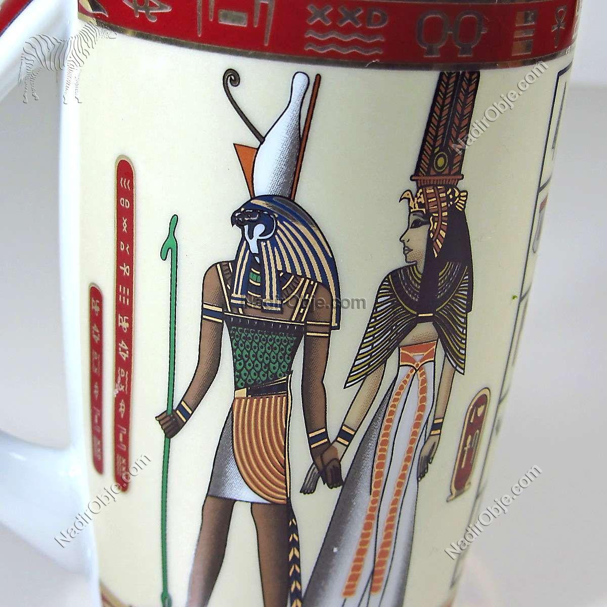 Mısır Temalı Porselen Kupa Seramik-Porselen Objeler Kupa