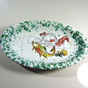 İtalyan Balık Tabağı 1900'ler Başı Seramik-Porselen Objeler Balık