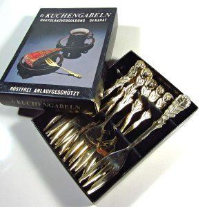 6 Adet Altın Kaplama Tatlı Çatalı Metal Objeler Alman