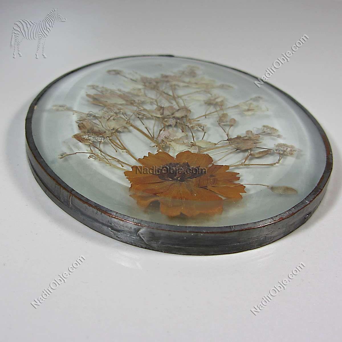 Kristal Cam İçinde Çiçek Duvar Dekoru Cam-Taş Objeler Çiçek