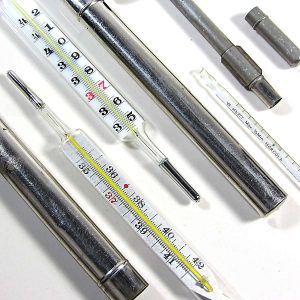 3 Adet Cıvalı Termometre Cam-Taş Objeler Cıvalı